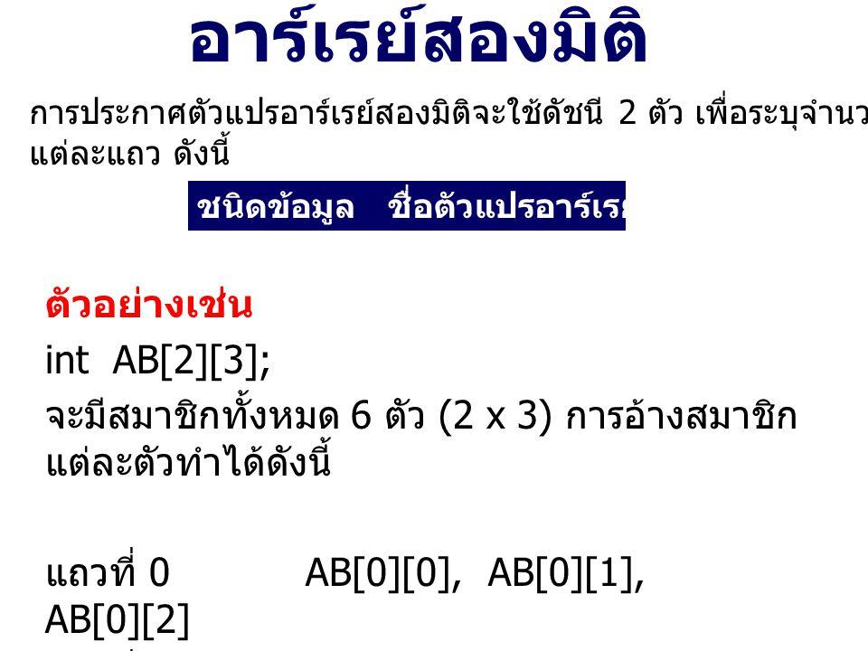 อาร์เรย์สองมิติ ตัวอย่างเช่น int AB[2][3];